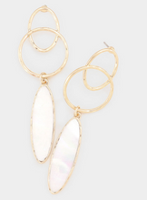 Load image into Gallery viewer, Geometric Oval Natural Stone Dangle Earrings