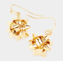 Load image into Gallery viewer, Metal Christmas Gift Bow Dangle Earrings