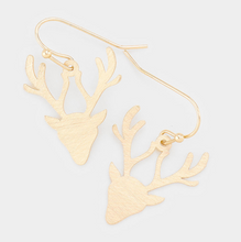 Load image into Gallery viewer, Metal Rudolph Dangle Earrings