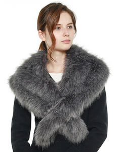 Faux Fur Shawl Scarf with Slit