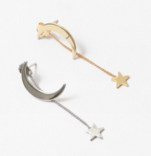 Load image into Gallery viewer, Moon and Star Dangle Earrings