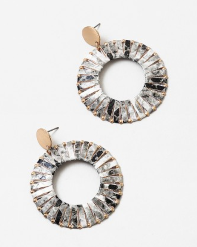 Snake Skin Circle Earrings