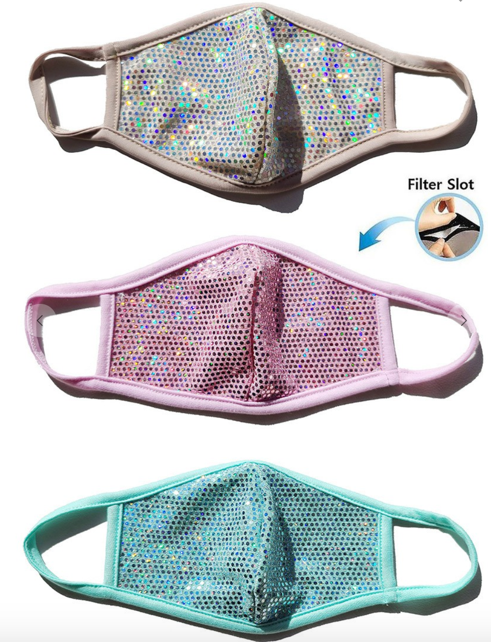 Reusable Sparkly Fashion Mask with Filter Slot
