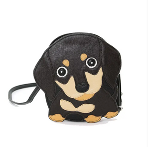 Black Wiener Puppy Crossbody Bag