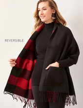 Load image into Gallery viewer, Reversible Shawl with Pockets