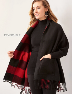 Reversible Shawl with Pockets