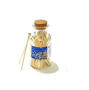 Gold Stars 60 Matches in Vintage Apothecary Jar with Cork Stopper and Striker Pad