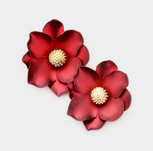 Blooming Flower Earrings - Red