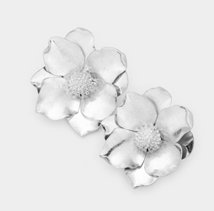 Blooming Flower Earrings - Silver
