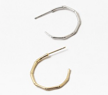 Load image into Gallery viewer, Thin Bamboo Hoop Earring - Gold