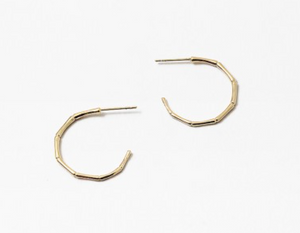 Thin Bamboo Hoop Earring - Gold