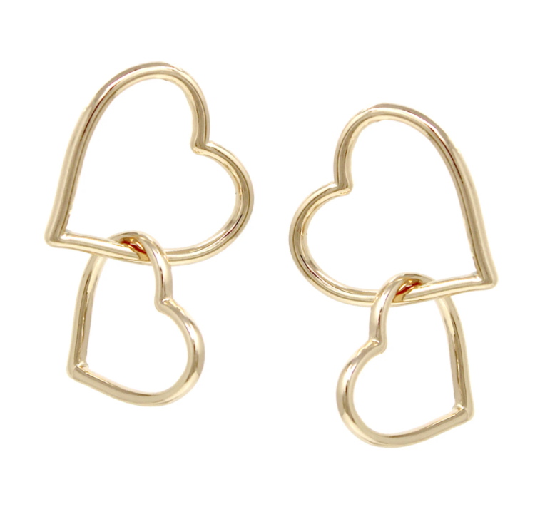 Heart Double Linked Drop Earrings