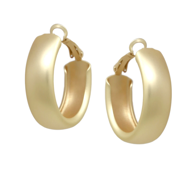 Rounded Edge Hoop Earrings (30 mm)