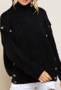 Button Detail Sweater - Black