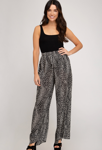 Wide Leg Spotted Pants - Black