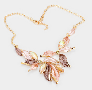 Glitter Marquise Stone Colored Metal Leaf Statement Necklace