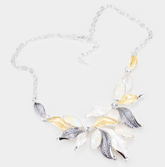Gray Glitter Marquise Stone Colored Metal Leaf Statement Necklace