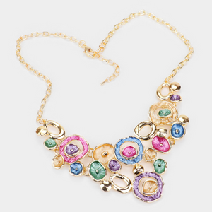 Multi Colored Metal Round  Statement Necklace