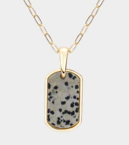 Copy of Curved Rectangle Semi Precious Gray Pendant Necklace