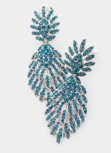Feather Pave Clip On Earrings