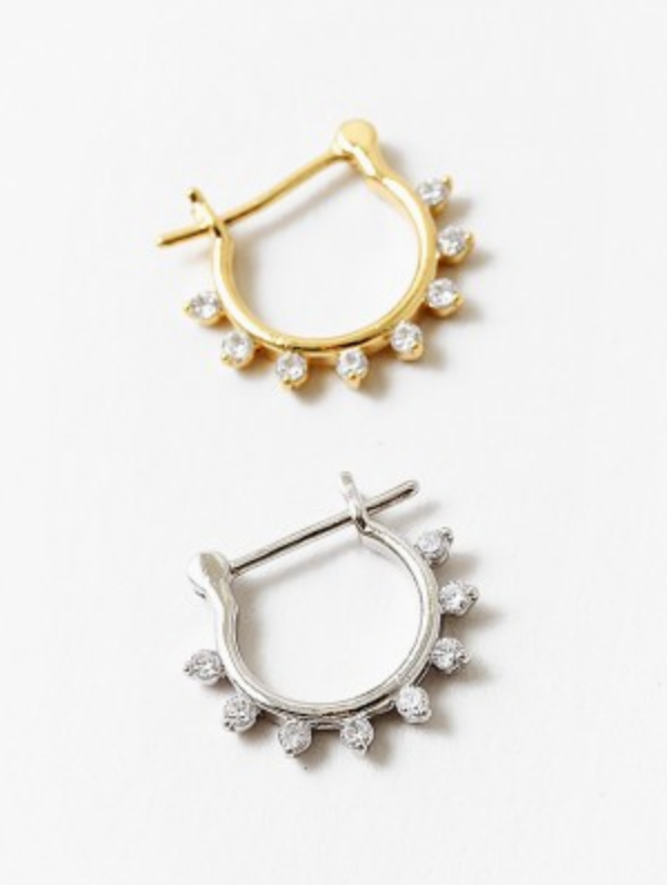Crystal Studded Hoop Earrings