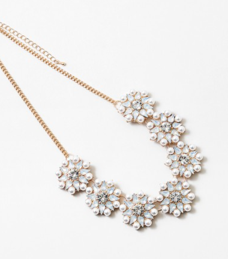Pearl Flowers Statement Necklace