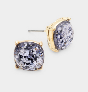 Glitter Square Stud Earrings