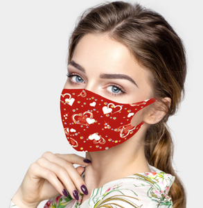 Valentine's Day Heart Print Fashion Mask