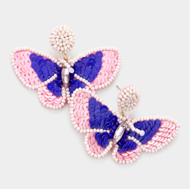 Sequined Butterfly Earrings - Pink + Purple