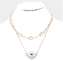 Load image into Gallery viewer, Chain Link Evil Eye Necklace