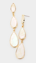 Load image into Gallery viewer, Mother of Pearl Accented Triple Teardrop Link Earrings
