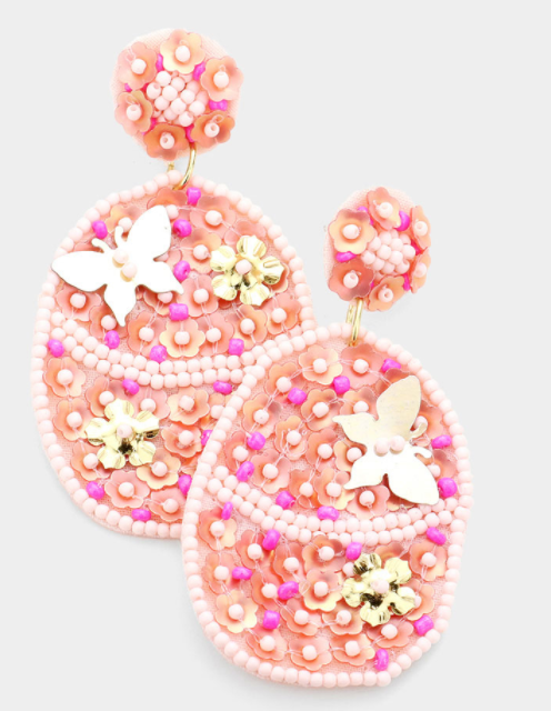Flower and Butterfly Accented Earrings
