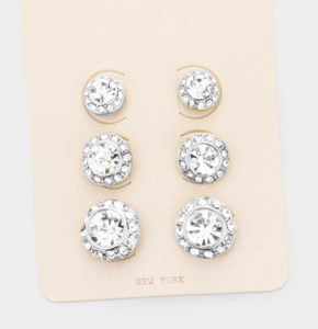 CZ Round Stud Earrings- 3 Pairs