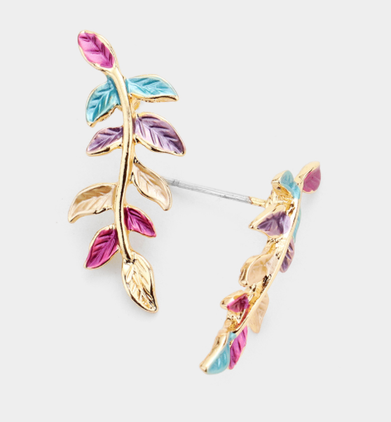 Colored Sprout Leaf Earrings