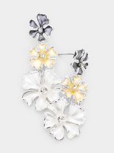 Load image into Gallery viewer, Colored Triple Flower Earrings