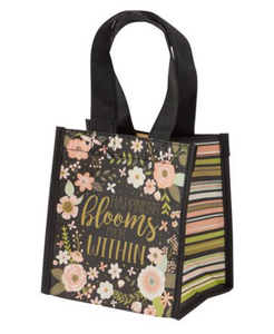 Charcoal Flowers Small Gift Bag