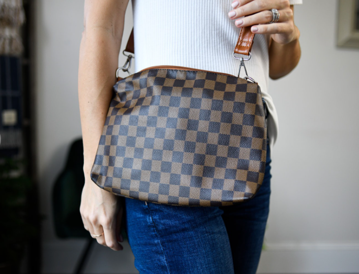 Checkered Crossbody Bag - Brown