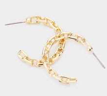 Load image into Gallery viewer, Alternating Chain Hoops Earrings