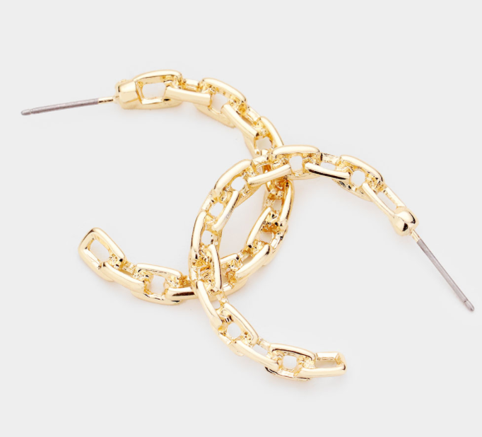 Alternating Chain Hoops Earrings