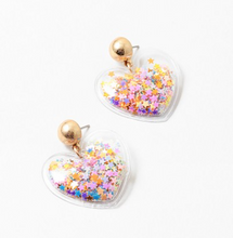 Load image into Gallery viewer, Star Confetti Heart Earrings