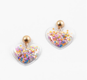 Star Confetti Heart Earrings