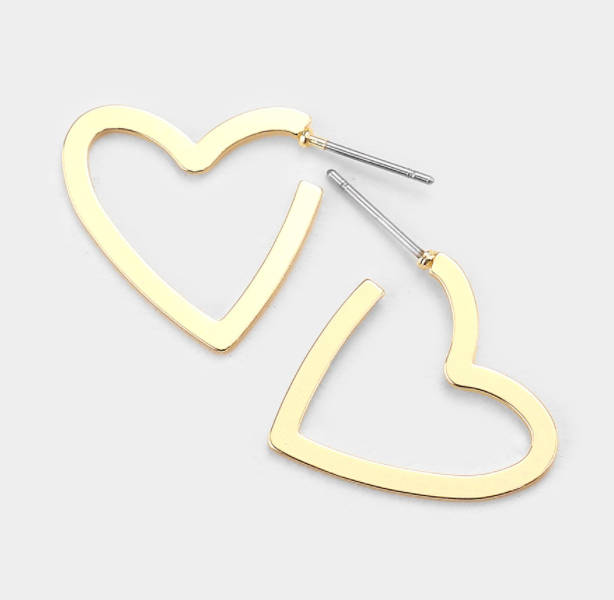 Metal Open Heart Earrings