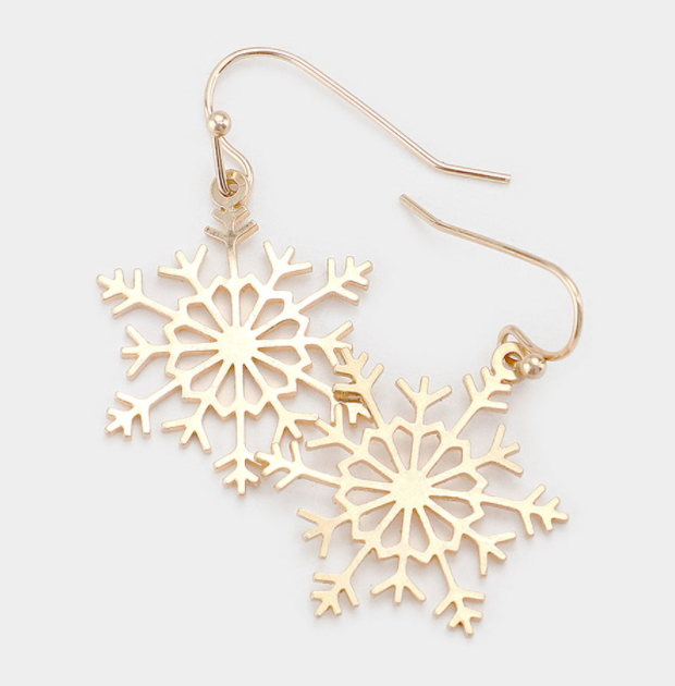 Metal Snowflake Dangle Earrings