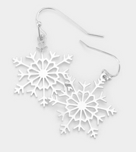 Load image into Gallery viewer, Metal Snowflake Dangle Earrings