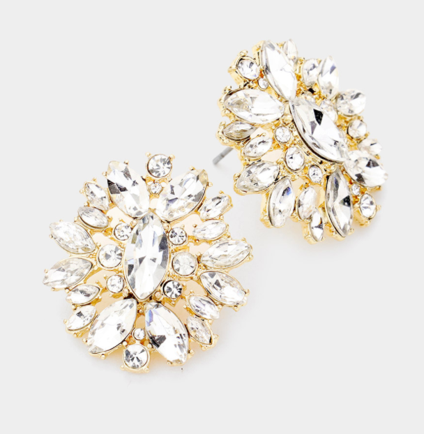 Floral Round Marquise Stone Earrings