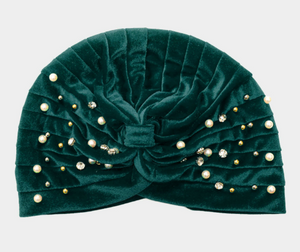 Stone Pearl Detailed Pleated Turban Beanie Hat