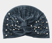 Load image into Gallery viewer, Stone Pearl Detailed Pleated Turban Beanie Hat