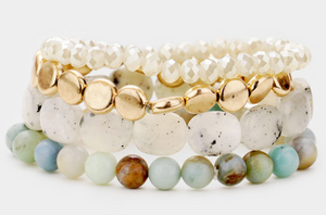 Semi Precious Multi Bead Stretch Bracelet