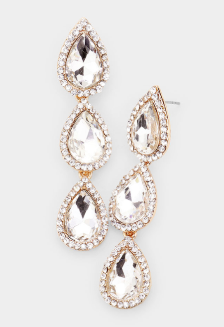 Triple Rhinestone Trim Teardrop Link Earrings