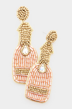Load image into Gallery viewer, Champagne Bottle Beaded Earrings